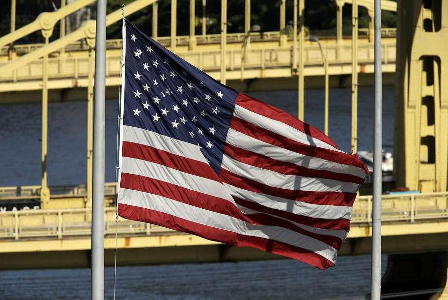 The American flag in PNC Park in Pittsburgh. Photo: Gene J. Puskar, Associated Press