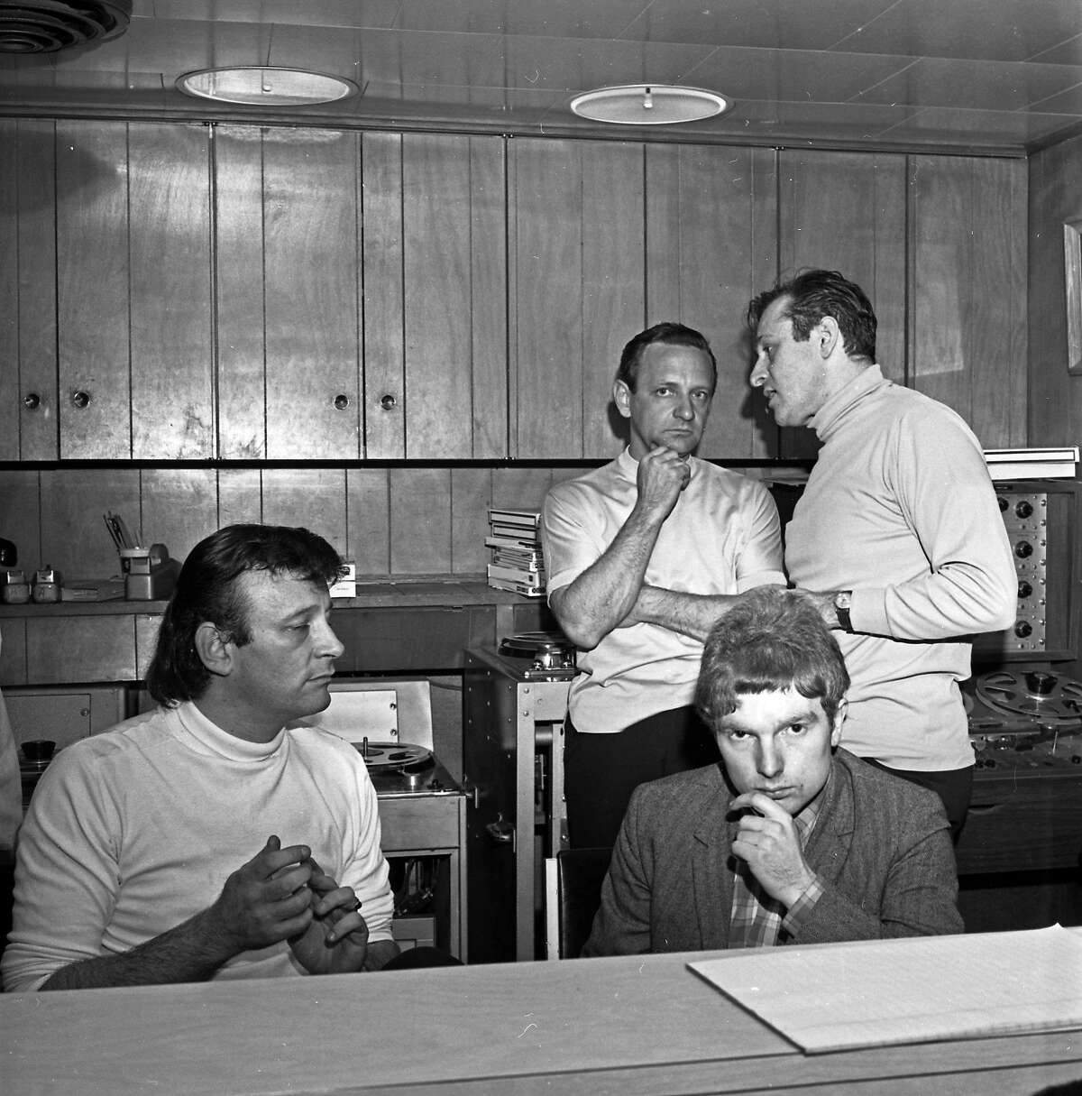 Forefront, L-R: Songwriter/producer Bert Berns, the subject of