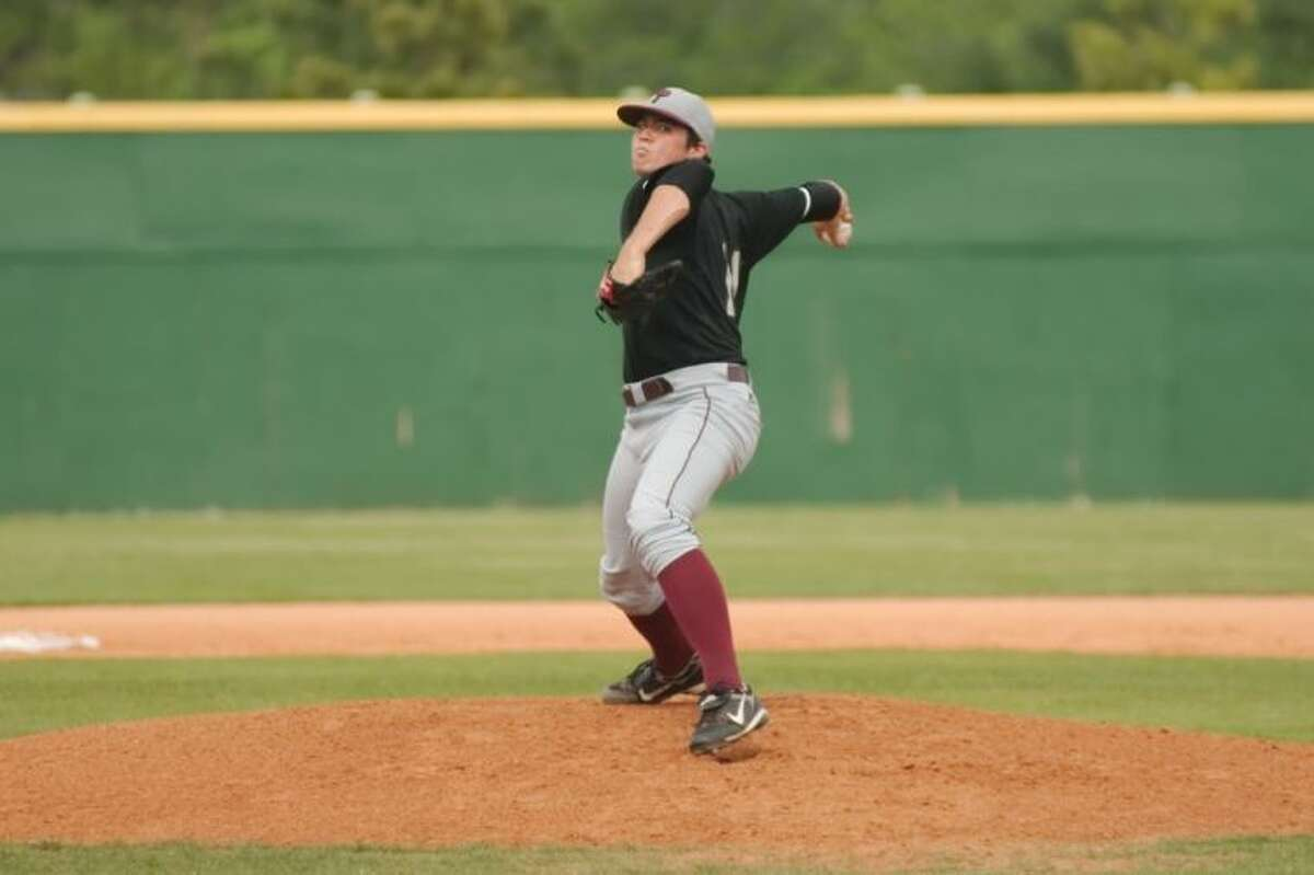 Pearland pitcher Blake Goins pitched a no-hitter Tuesday against Manvel in the Oilers' 15-1 win in a District 22-5A baseball game.