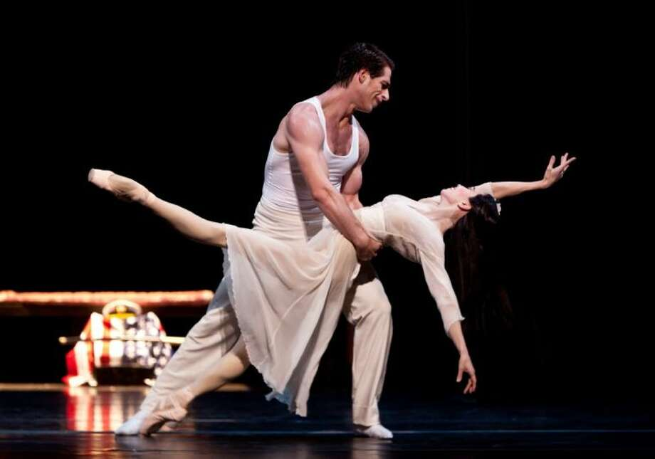"The Houston Ballet will perform ""Madame Butterfly,"" choreographed by Stanton Welch, at 8 p.m. May 3 at The Cynthia Woods Mitchell Pavilion. Pictured are dancers James Gotesky and Amy Fote."