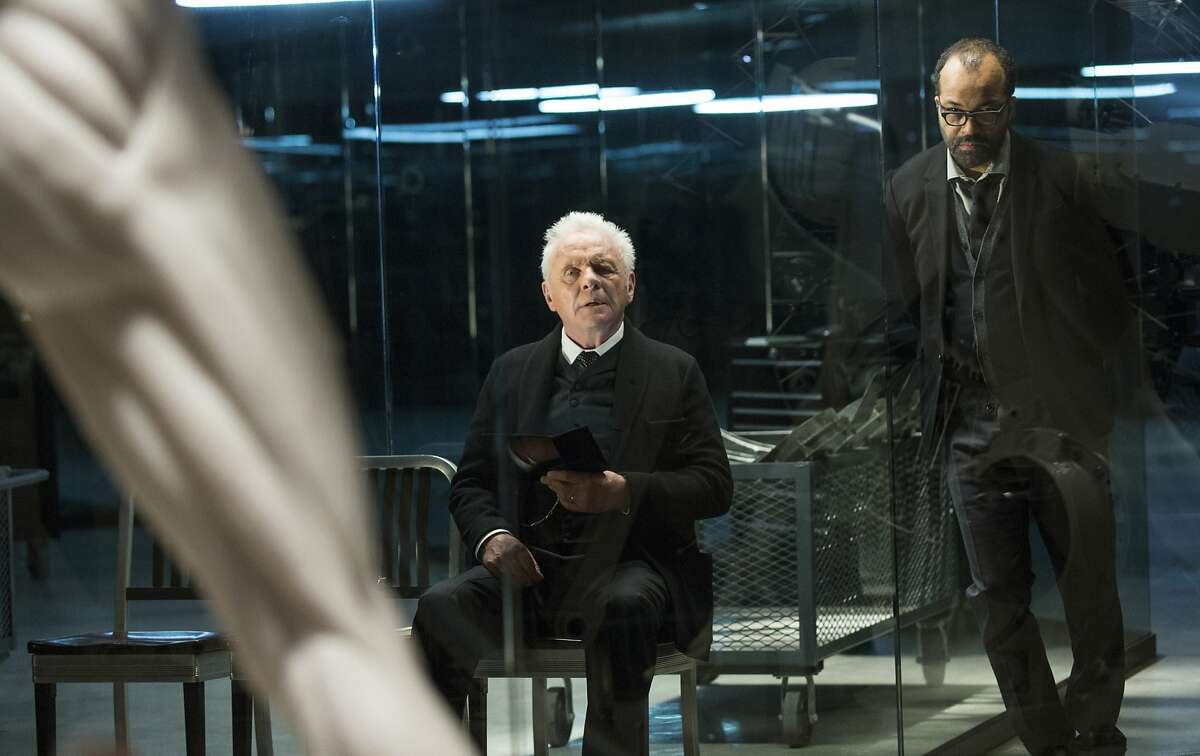 Anthony Hopkins and Jeffrey Wright play the geniuses who design the lifelike robots that satisfy the human visitors to a Wild West theme park in futuristic thriller 'Westworld' on HBO.