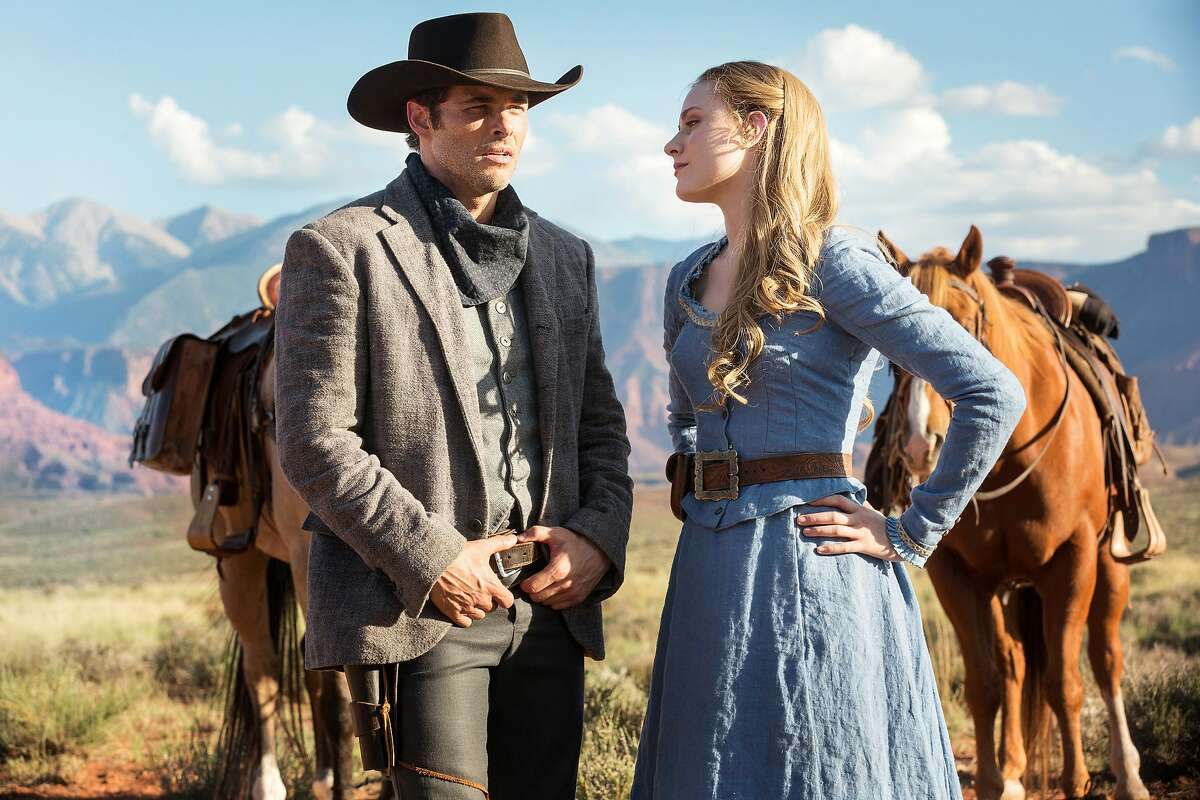 James Marsden and Evan Rachel Wood are the lifelike AI attractions who help make fantasies come true for the human visitors at a Wild West theme park in dark thriller 'Westworld' on HBO.