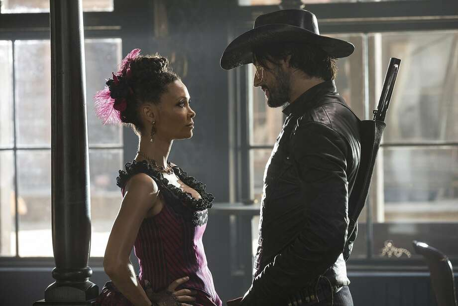 "Thandie Newton as a robot madam in ""Westworld,"" with Rodrigo Santoro. Photo: John P. Johnson/HBO, TNS"