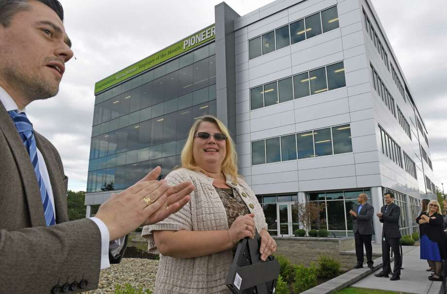 Pioneer Bank employee of the month Krista Werner the first in the new Pioneer Bank headquarters on Wednesday Sept. 28, 2016 in Colonie , N.Y. (Michael P. Farrell/Times Union) Photo: Michael P. Farrell / 40038168A