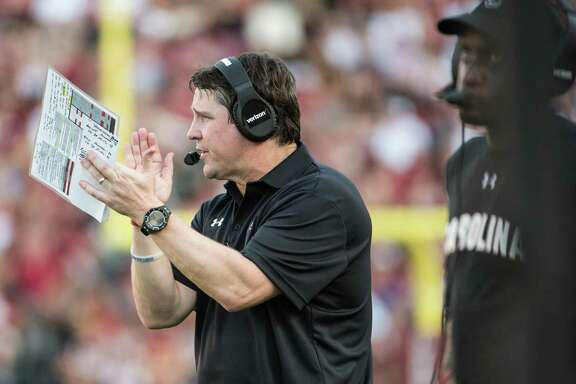South Carolina head coach Will Muschamp encourages his players during the second half of an NCAA college football game Saturday, Sept. 17, 2016, in Columbia, S.C. South Carolina defeated East Carolina 20-15. (AP Photo/Sean Rayford)