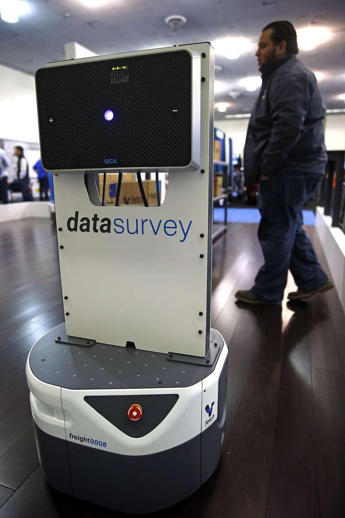 Fetch Robotics' Data Survey robot during RoboBusiness at San Jose Convention Center in San Jose, Calif., on Wednesday, September 28, 2016.
