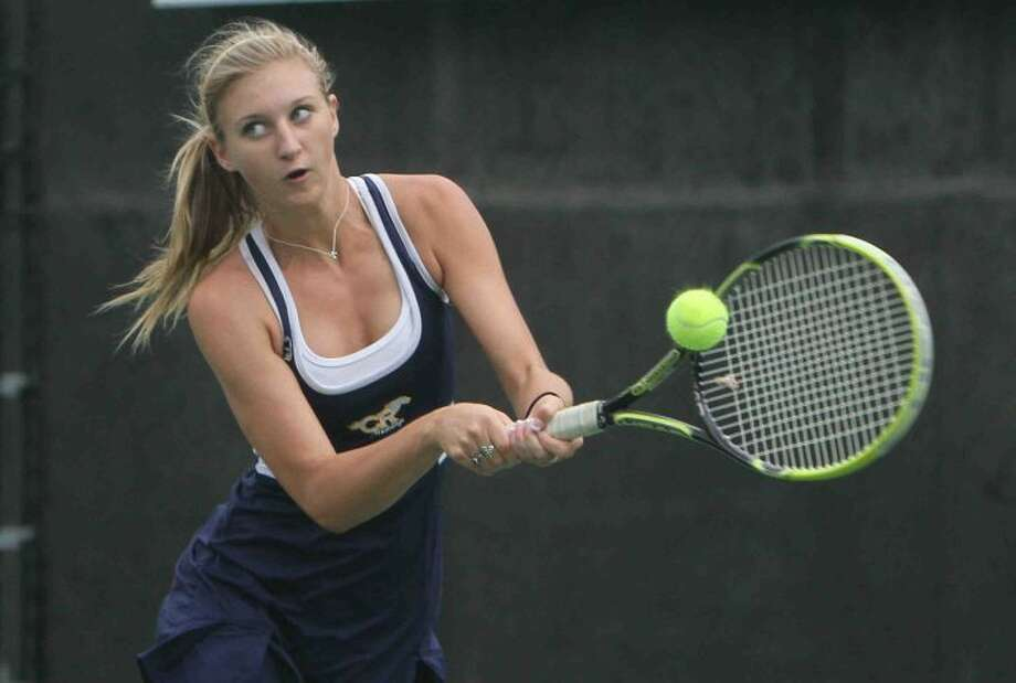 Cy Ranch's Courtney Anderson is pictured competing in the UIL state tennis tournament Monday in Austin. Photo: Jason Fochtman