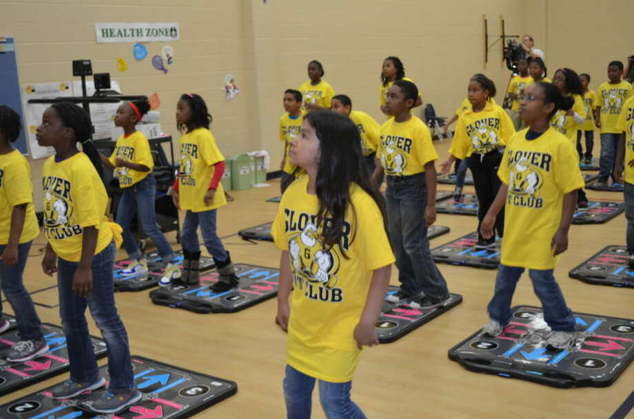 Glover Elementary School third-graders get ready to play DanceDanceRevolution Classroom Edition.