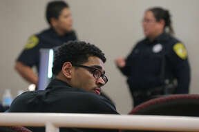 Joshua Joyner,17, looks toward the back of the courtroom Wednesday September 28, 2016. Joyner is being tried on a capital murder charge for the shooting death of Albert Nelson at an elementary school on July 24, 2015.