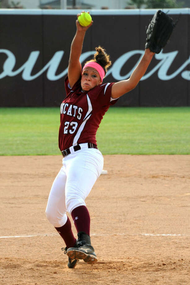 Cy-Fair pitcher Mariah Gibson won game one May 10 and pitched another complete game in game three. Photo: Craig Moseley/PhotosbyMose.com