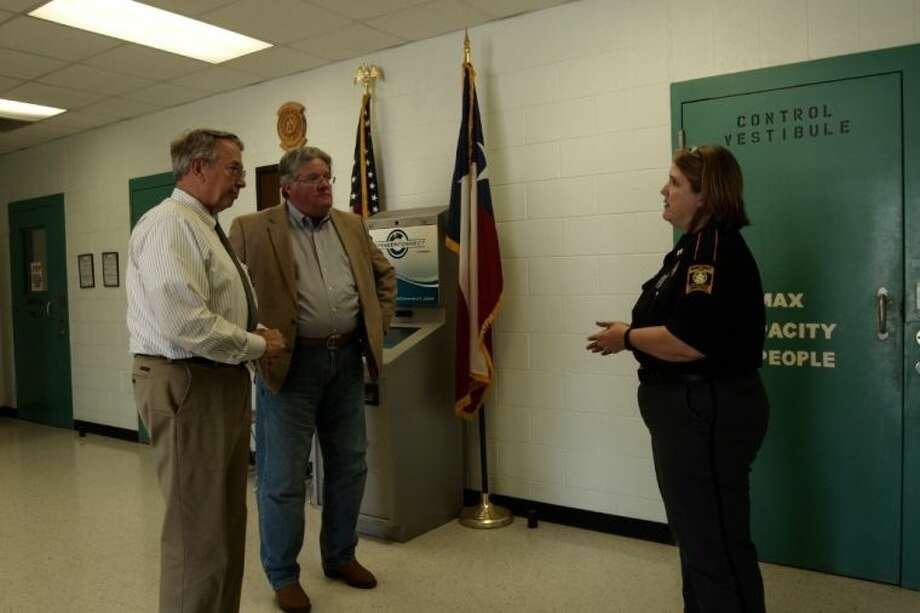 Sheriff Bobby Rader and County Judge Craig McNair tour the Burnet County Jail on Tuesday, May 7.