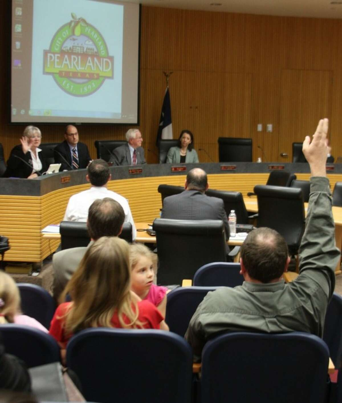 """Frustrated homeowners questioned the Pearland City Council and urged they deny a proposed zone change request that would allow a a medical developement located by their homes to move forward. One council member said she feels the individual rights of property owners are an important consideration. """"As a government official I also have to think about zoning,"""" Councilmember Susan Sherrouse said (far left). """"I am all about property rights. When you buy property you should be able to do what you want to do with it. But then people want to tell their neighbors what to do with their property. I am very proud that Pearland has zoning and that we have a planning and zoning commission. We take that into serious consideration because our homeowners are very important to us. But, then again our businesses are also very important to us."""""""