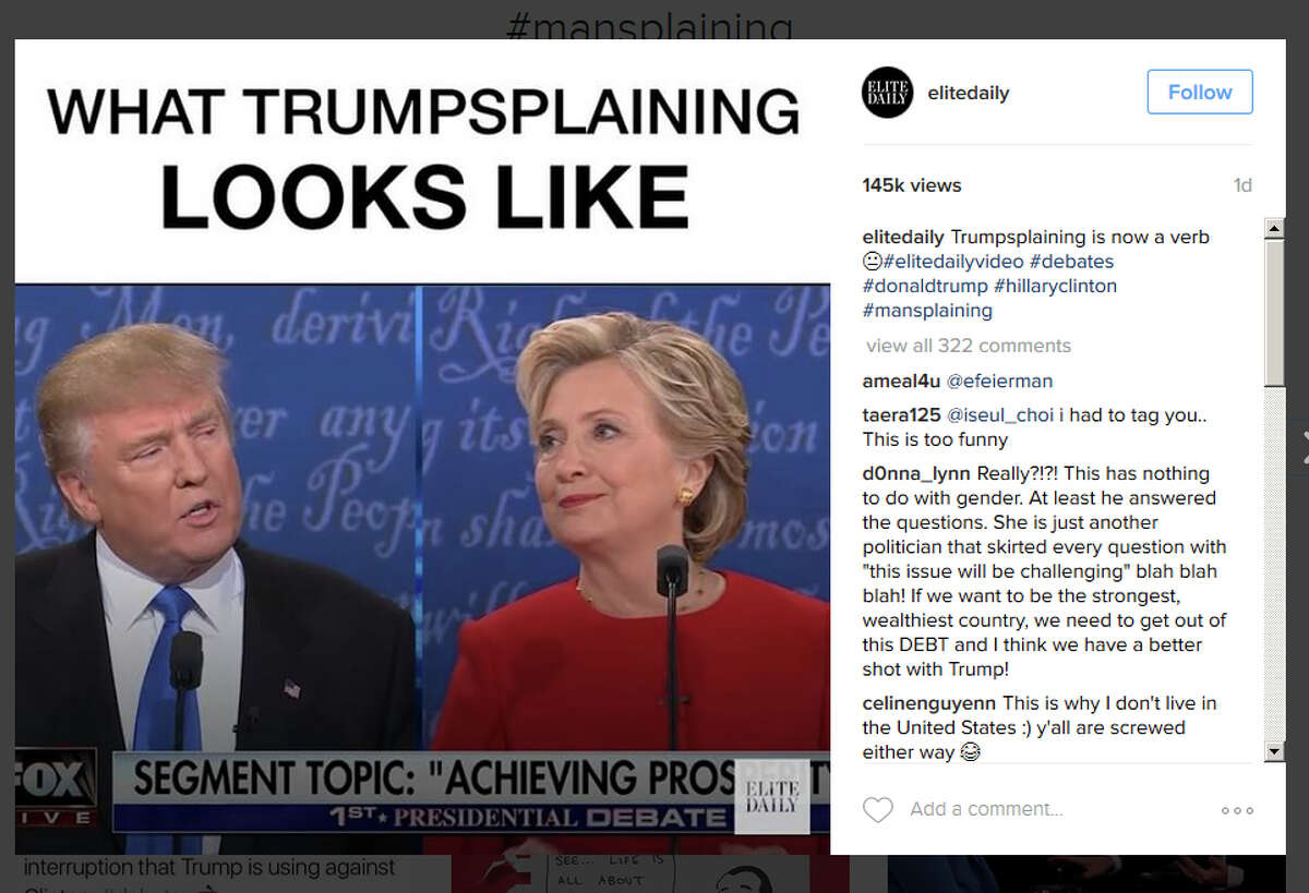 Post-debate mansplaining memes shared on Instagram.