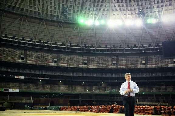 Harris County Judge Ed Emmett surveys the Astrodome.