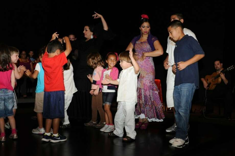 Pre-schoolers from the San Jacinto College Children's Center South learn dance moves from the Solero Flamenco dancers during Flamenco Fest at San Jacinto College South Wednesday, May 23.