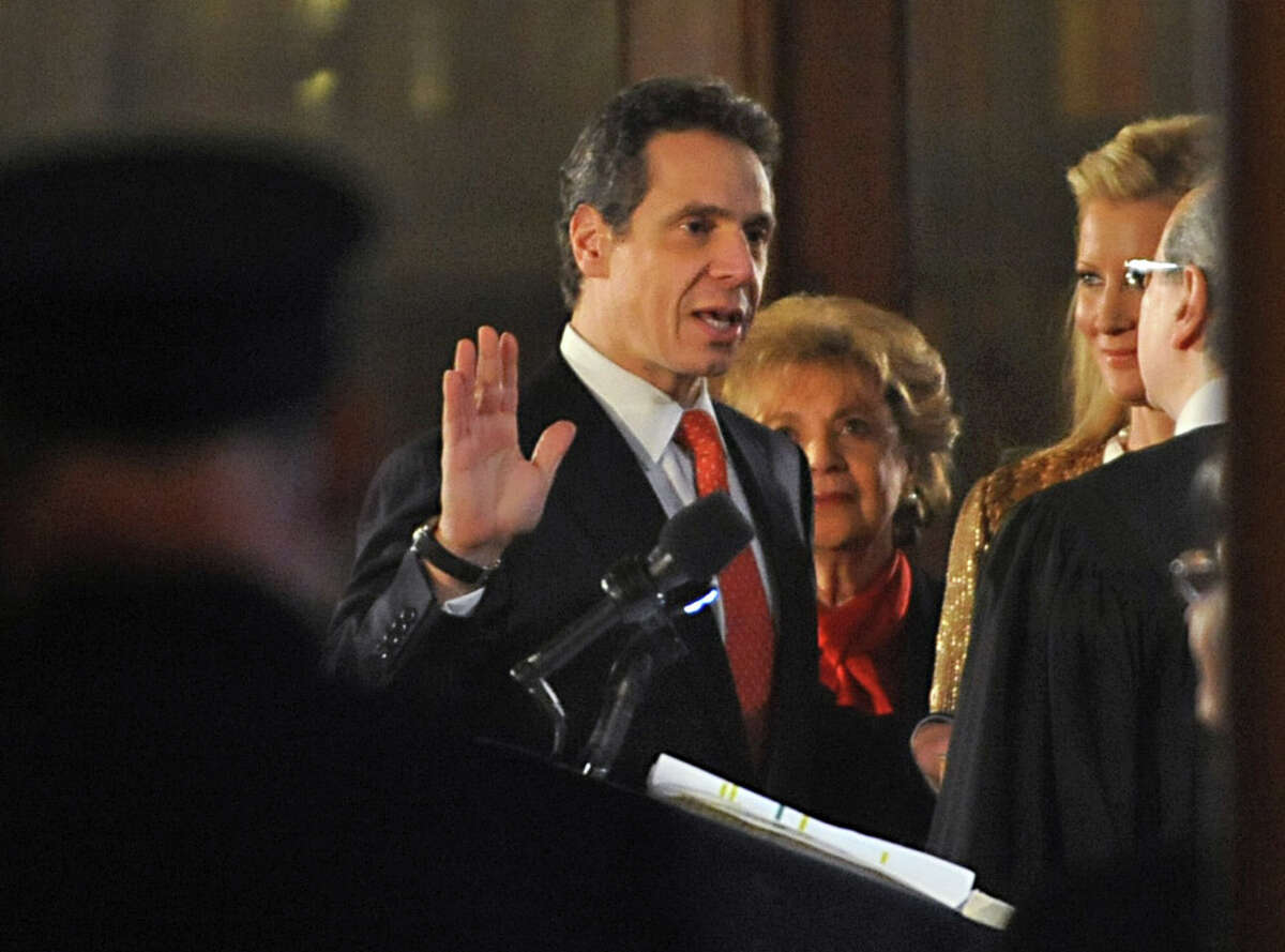 Gov. Andrew Cuomo gets sworn in at his inauguration at the Capitol on Jan. 1, 2011, in Albany, N.Y. (Lori Van Buren / Times Union archive)