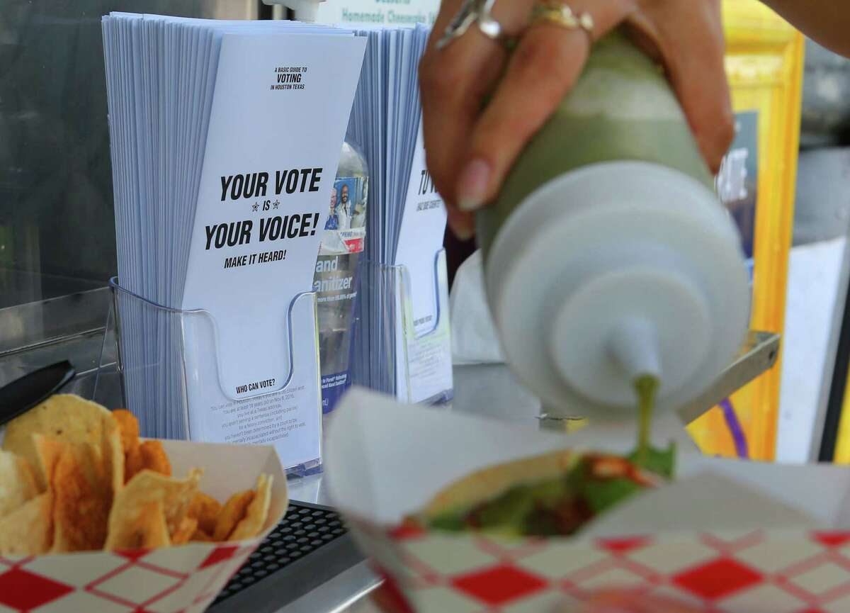 The Tila's Tacos truck on University Street near the Rice University campus joined forces with several other taco trucks encouraging voter registration at their establishments as part of national voter registration day on Tuesday.