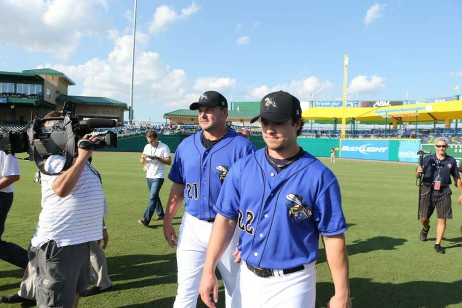 Roger Clemens and Koby Clemens (foreground) played together for the first time since 2006 on Friday at Constellation Field.
