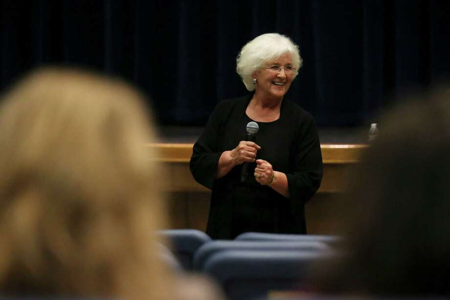 National cyberbully expert Barbara Coloroso speaks to parents at Alamo Heights High School, Wednesday, Sept. 28, 2016. ColorosoÕs appearance was possible through the efforts of the David's Legacy Foundation. It is named after David Bartlett Molak, who committed suicide at the age of 16 after he was bullied on social media. Photo: Jerry Lara, Staff / San Antonio Express-News / © 2016 San Antonio Express-News