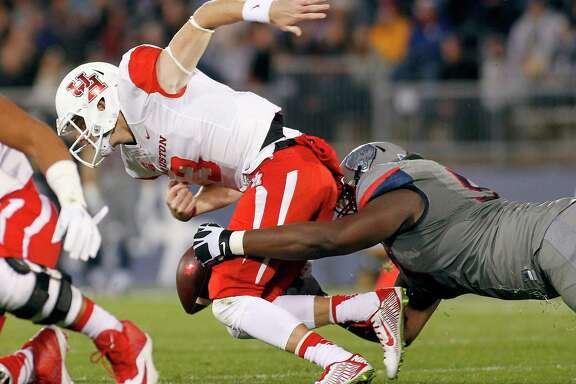 With Greg Ward Jr., injured, UH had to use Kyle Post-ma, fumbling in the second quarter, at quarterback most of the way in last season's loss to Connecticut.