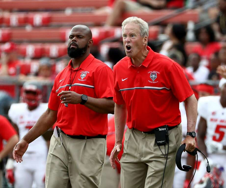 PISCATAWAY, NJ - SEPTEMBER 17:  Head coach Bob Davie of the New Mexico Lobos reacts after Lee Crosby of the Lobos is called for unsportsmanlike conduct in the second half against the Rutgers Scarlet Knights at High Point Solutions Stadium on September 17, 2016 in Piscataway, New Jersey.The Rutgers Scarlet Knights defeated the New Mexico Lobos 37-28.  (Photo by Elsa/Getty Images) Photo: Elsa, Getty Images