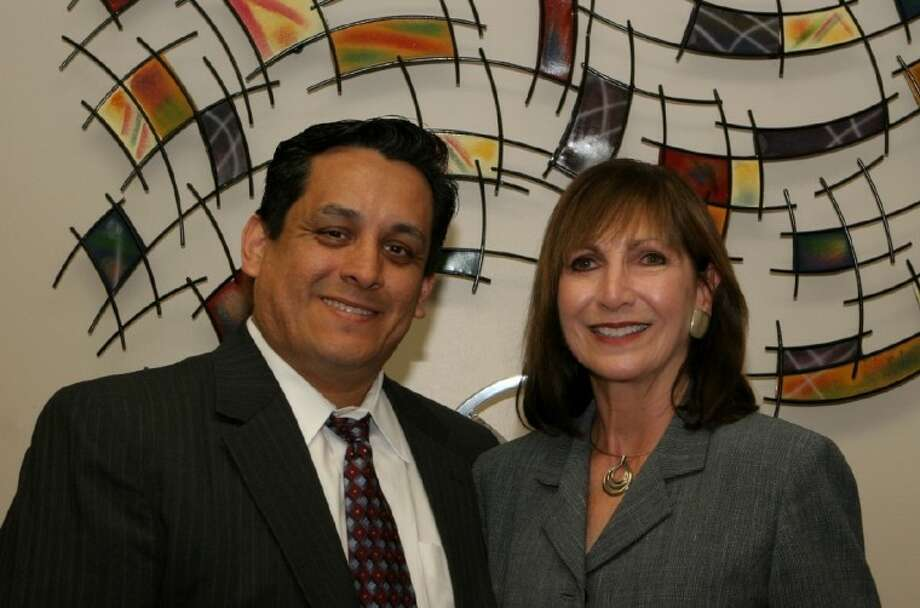 Santiago Mendoza, Jr. , COO of Best Practices Quarterly magazine, left stands with ACC Continuing Education Workforce Development Dean Dr. Patricia Hertenberger. Mendoza recently donated 500 toward a scholarship for students to enroll in allied health workforce training programs. Photo: ACC