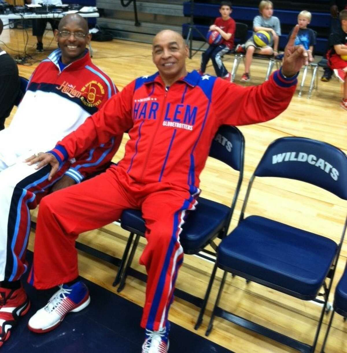 Famous Harlem Globetrotters player Curly Neal gets ready for action at Tomball Memorial High School in 2017.