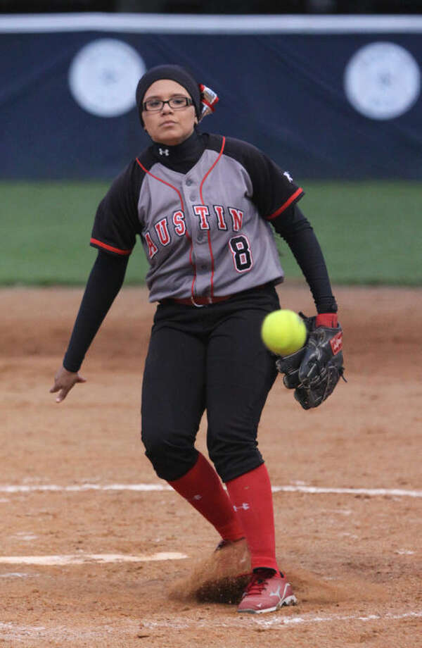 Austin pitcher Sara Solis struck out 10 in a complete-game, 2-1 victory against Clements during their District 23-5A game April 4 at Clements High School in Sugar Land. Visit www.hcnpics.com for more photos. Photo: Alan Warren/HCN