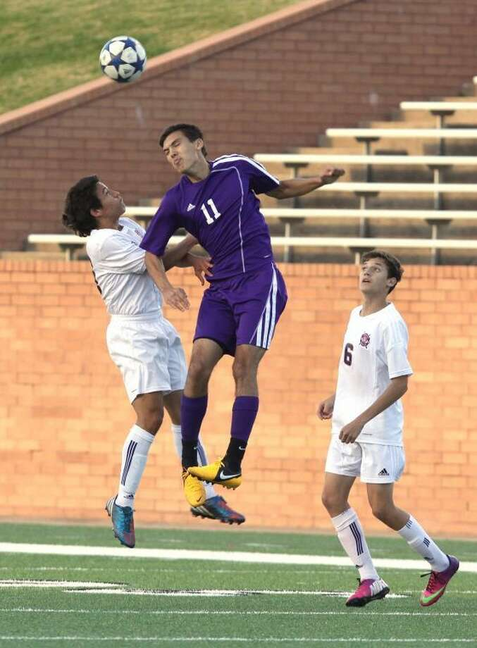 Marcelo Barany and the Jersey Village boys' soccer team fell to Seven Lakes in a 3-2 loss on Friday at Rhodes Stadium in the two teams' area playoff game. Photo: Alan Warren