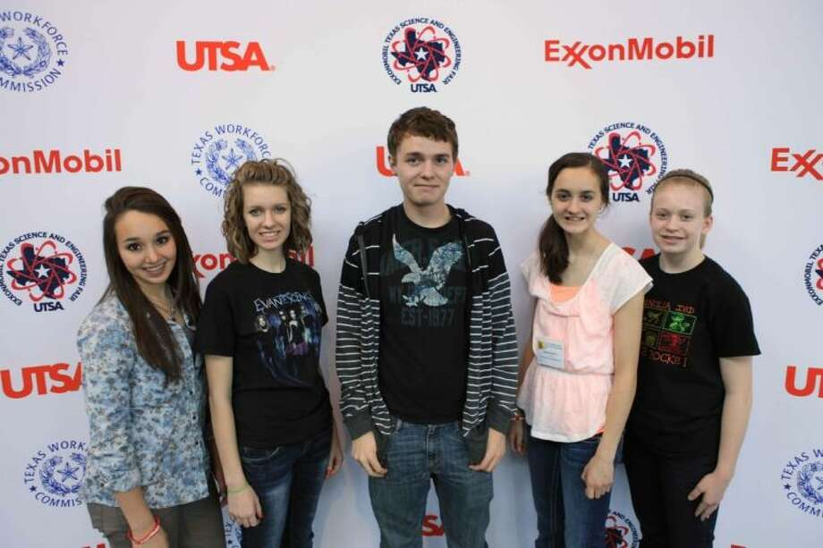 Magnolia ISD sent a record number of students to the ExxonMobil Texas Science and Engineering Fair held in San Antonio on March 28. Pictured, from left, are Sarah Swift, Samantha Gerthe, Dakota Stormer, Brynn Reynolds and Aubrey Frank. Photo: MISD