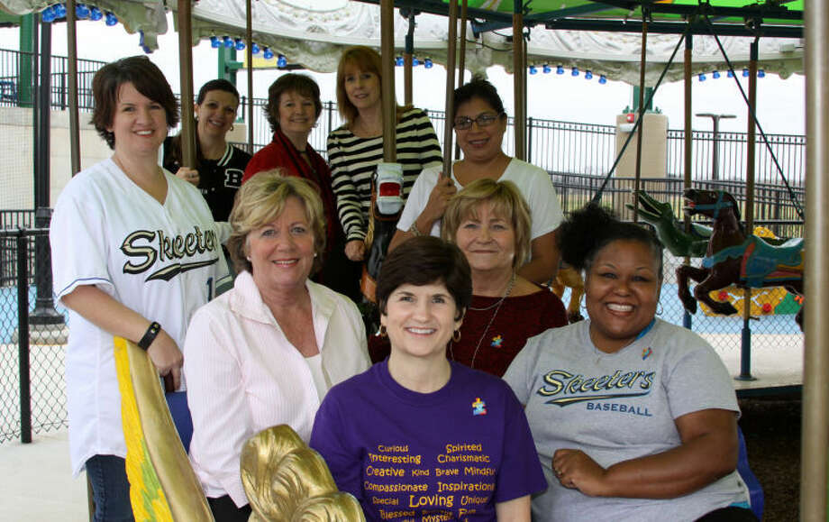 Shown here are the 2013 Strike Out Autism Committee Chair Persons: In the last row from left, Sharon Buckle, Evelyn Traylor andJoan Soland; in the third row are Ricci Kelley andSally Paz; in the second row are Linda Shultz andMary Ann Gardner; and in the front are Darla Farmer andHope Montgomery. Not pictured areJennifer Santiago, Mary Ann Hibbeler, Teresa Cortez, Ashley Willis andLucy Maldonado.Photo credit: Brenda Perry