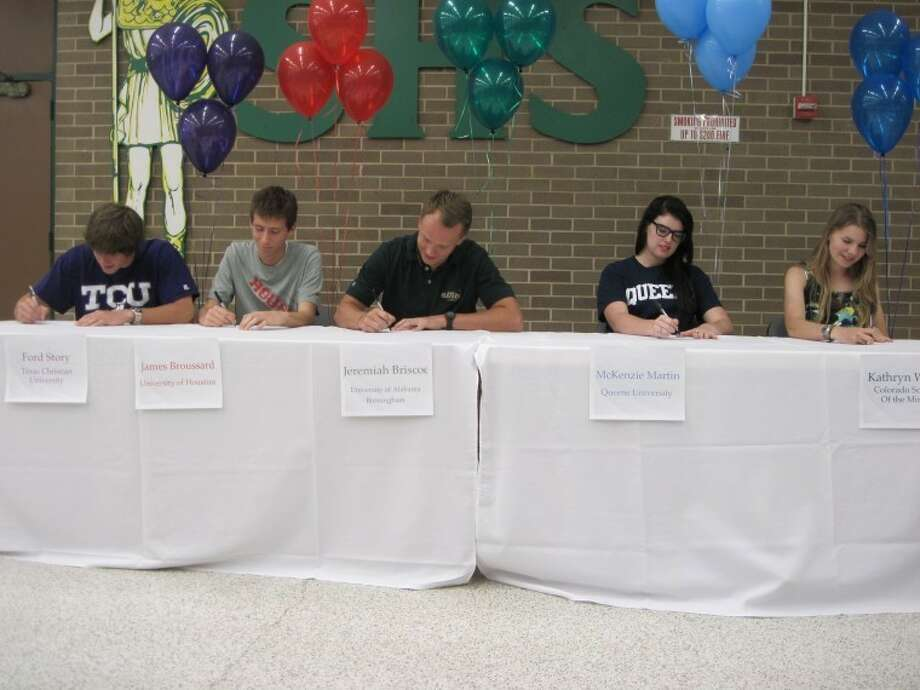Stratford student-athletes Ford Story (swimming, TCU), James Broussard (cross country/track, Houston), Jeremiah Briscoe (football, Alabama-Birmingham), McKenzie Martin (volleyball, Queens University) and Kathryn Wood (soccer, Colorado School of Mines) will attend and compete at NCAA universities in the fall. Photo: By Jack Marrion/HCN