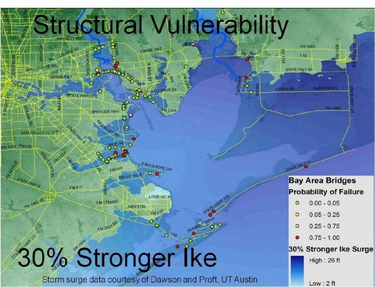The Rice SSPEED Center study identifies vulnerable bridges on or near Galveston Island.