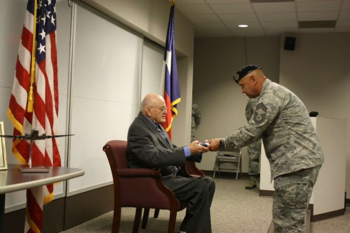 Sergeant Paul T. Standley served during World War II as a radio operator crew member stationed at Ellington Field. Sgt. Standley's service in the Army Air Corp was recognized last Friday during a ceremony at Ellington Field.