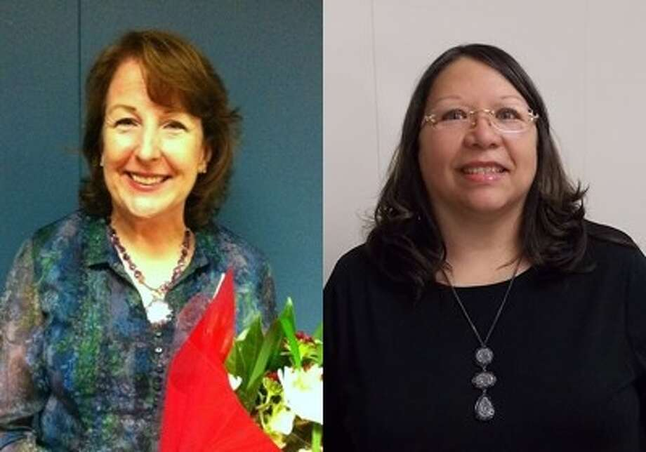 Fort Bend ISD named Mary Prine, left, counselor at Austin Parkway Elementary School, as the Professional Employee of the Month for February; and Sylvia Gonzalez, right, administrative assistant in the Curriculum Department, as the Auxiliary Employee of the Month for February.