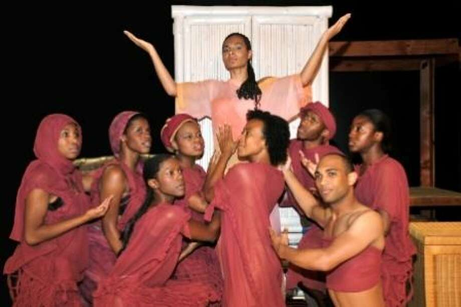 """Don't miss the Houston premier of Elton John and Tim Rice's """"Aida"""" set July 17 through July 27 on stage at Lone Star College-CyFair. This contemporary musical version of a timeless love story tells the story of a forbidden love between an Egyptian soldier and an enslaved Nubian princess. Surrounding Margaret Hoffman as """"Aida"""" are from left Vallon Holcombe, LaDawn Taylor, Melanie Finley, Kristina Love, Rachel Dickson, George Hamilton, Darrell T. Joe and Courtney Jones. Performances will be held in the Main Stage Theatre located in the Center for the Arts on the Barker Cypress campus. For reservations, tickets and information call 281-290-5201 or go to CyFair.LoneStar.edu/boxoffice."""