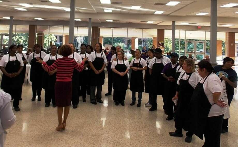 Contestants receive a pep talk from Jenieffe Heaven, Assistant Director of FBISD's Child Nutrition Department.