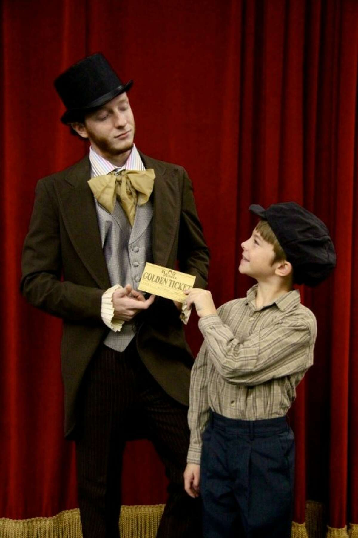 """Noah Mowry and Jason McClung rehearse a scene from """"Willy Wonka,"""" which opens Thursday, July 28, at the Royal Academy of Fine Arts in Webster."""