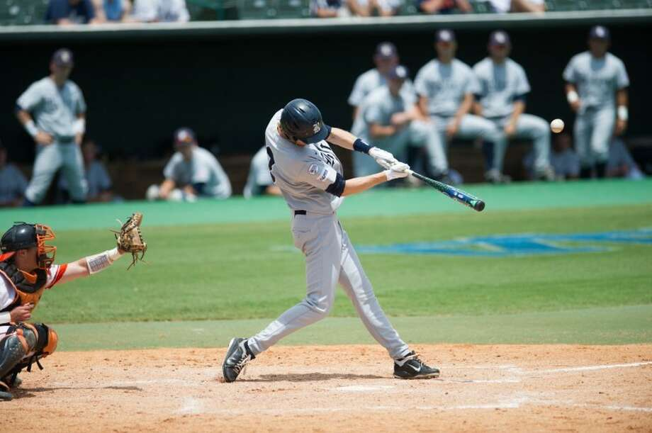 Memorial graduate Jeremy Rathjen doubled off the left-center field wall to score Christian Stringer for Rice in the fifth inning Sunday against SHSU. The Bearkats threw out a runner at home on the play and ultimately prevailed 4-1. Photo: Kevin B Long/GulfCoastShots.com