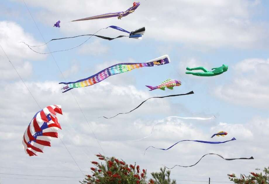 Kites fill the sky at the inaugural Fest of Tails at Cross Creek Ranch in Fulshear, Texas.(Photo by Alan Warren) Photo: Photo By Alan Warren