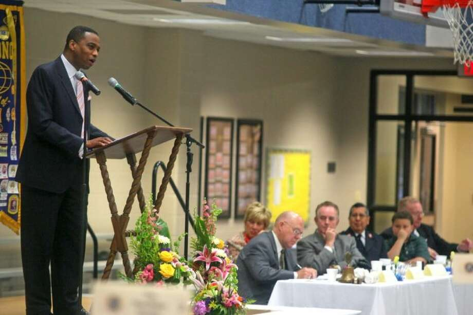 Khambrel Marshall, KPRC Local 2 Meteorologist, was the special guest speaker at Thursday's 30th Annual Pasadena Kiwanis Mayor's Prayer Breakfast at South Main Baptist Church. Photo: Kar B Hlava