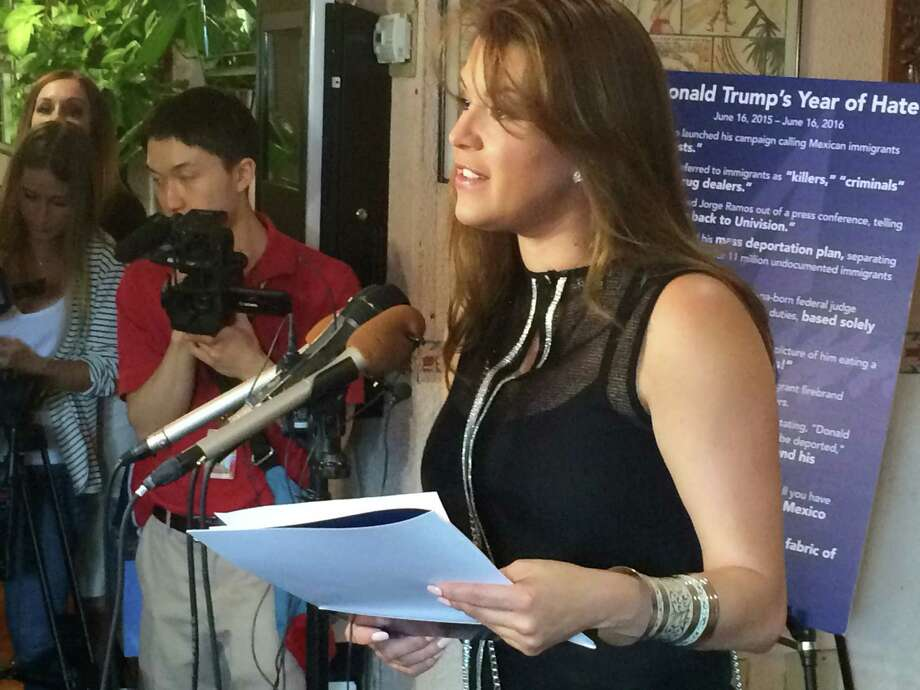 FILE - In this June 15, 2016, file photo, former Miss Universe Alicia Machado speaks during a news conference at a Latino restaurant in Arlington, Va., to criticize Republican presidential candidate Donald Trump. Machado became a topic of conversation during the first presidential debate between Trump and Democratic candidate Hillary Clinton on Sept. 27, 2016. (AP Photo/Luis Alonso Lugo, File) ORG XMIT: PAPM102 Photo: Luis Alonso Lugo / Copyright 2016 The Associated Press. All rights reserved.