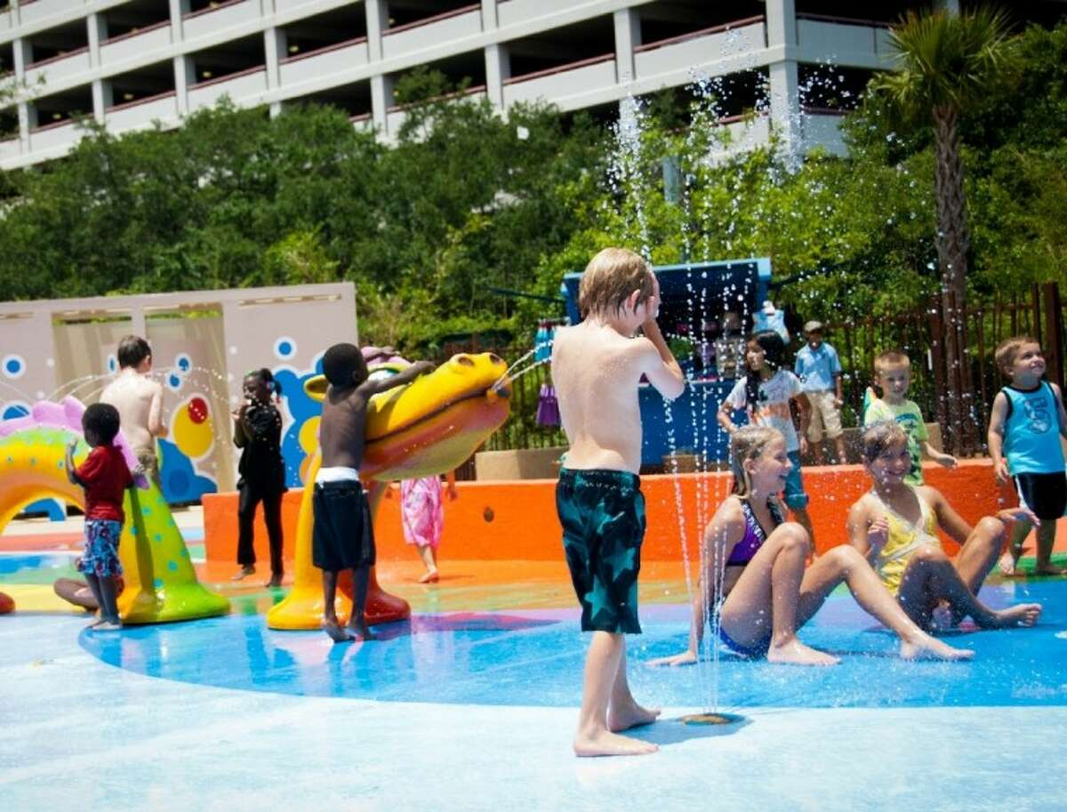 The new Kathrine McGovern Water Play Park at the Houston Zoo has 37 different play features, all individually activated to conserve water.