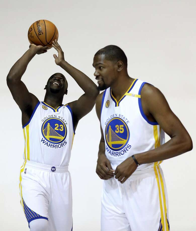 Golden State Warriors' Draymond Green, left, and Kevin Durant pose for photos during NBA basketball media day Monday, Sept. 26, 2016, in Oakland, Calif. (AP Photo/Marcio Jose Sanchez) Photo: Marcio Jose Sanchez, Associated Press