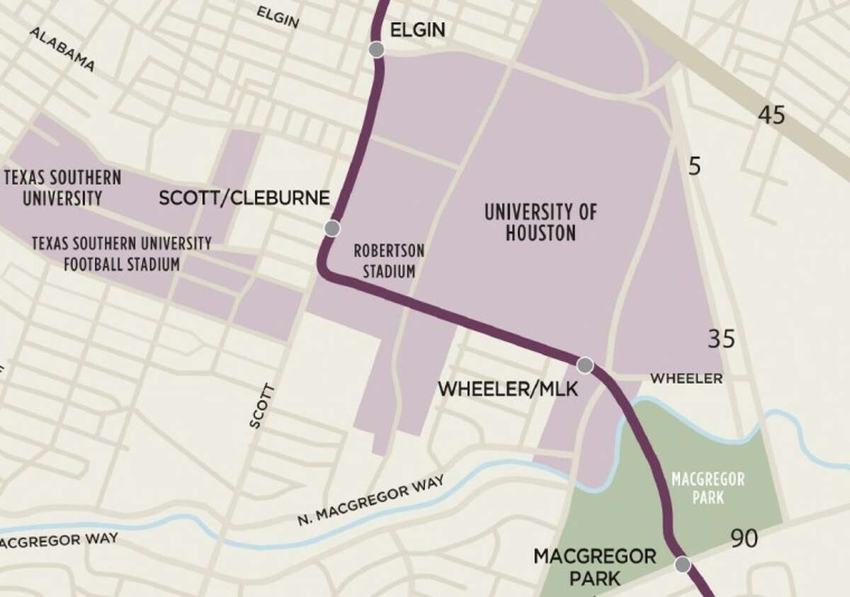 Roughly, the Southeast line in the vicinity of the University of Houston.
