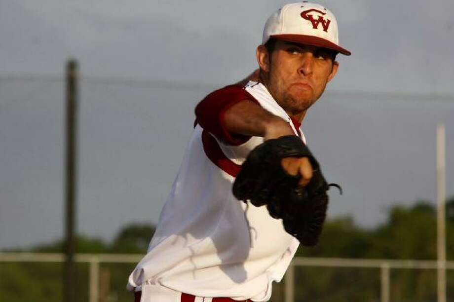 Cy Woods High senior Jared Lakind went 8-1 on the mound with a 1.88 ERA, including a no-hitter against Cy Falls. (Photo by kjwesphotos.com)