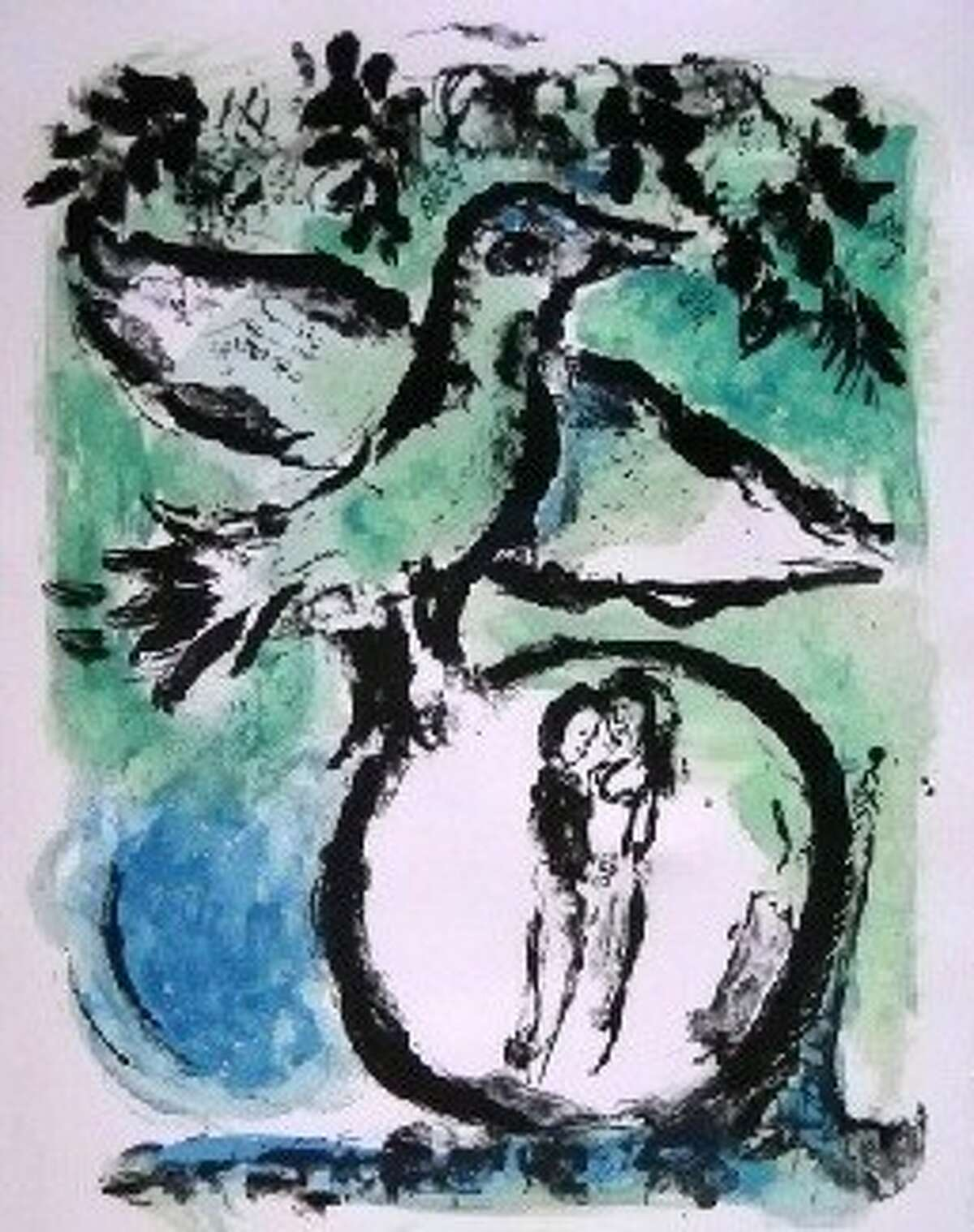 """""""Green Bird,"""" by Marc Chagall is one of the piece of art up for auction by the U.S. Marshals Service. Also up for grabs , amond others, are a linocut by Pablo Picasso, """"Le Homme Endormi"""" by Henri Matisse, and a sheet music cover by Henri Toulouse-Lautrec."""