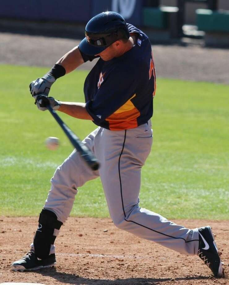 Cy-Fair grad Robbie Grossman, who got an opportunity to play for the Houston Astros during Spring Training this season, isnow playing for the Astros in the majors afterJustin Maxwell suffered an injury. Photo: Courtesy Photo