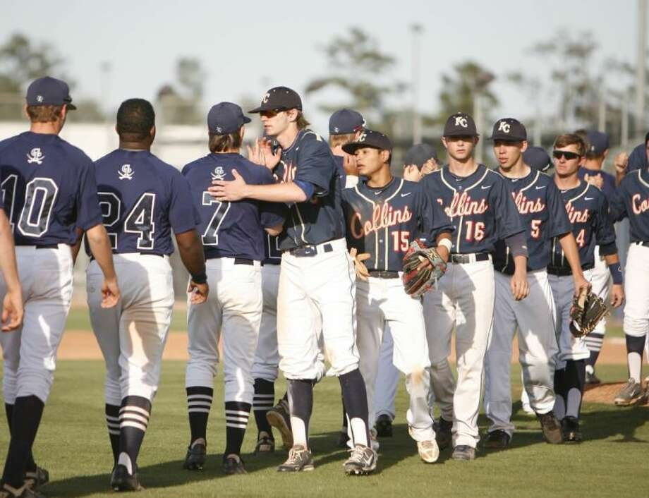 Members of the Klein Collins baseball team shake hands with College Park players after Klein Collins' 14-2 win over College Park in Saturday's playoff game. To view or order this photo and others like it, visit: HCNPics.com