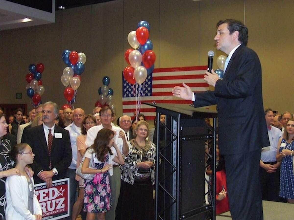 U.S. Senate candidate Ted Cruzspeaks to supporters at an election watch party after forcing a runoff election with David Dewhurst.